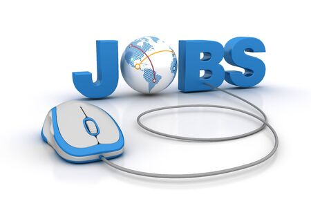 JOBS 3D Word with Globe World and Computer Mouse - High Quality 3D Rendering