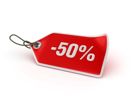 Shopping Tag Series: 50% - High Quality 3D Rendering Banco de Imagens