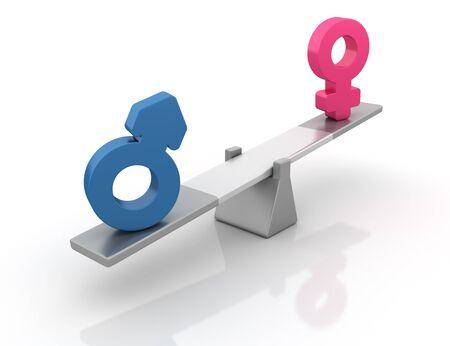 Gender Symbols Balancing on a Seesaw - High Quality 3D Rendering Banque d'images