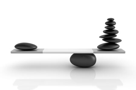 Stones Balancing on a Seesaw - High Quality 3D Rendering