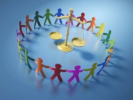 Teamwork-Piktogramm-Menschen mit Waage der Gerechtigkeit - Hochwertiges 3D-Rendering