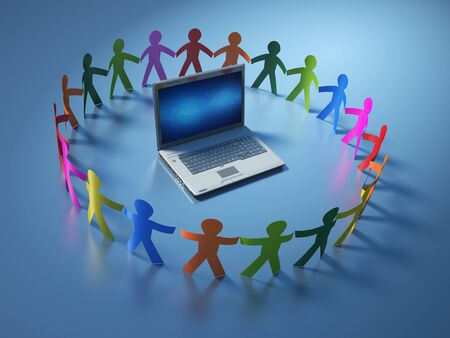 Teamwork Pictogram People with Computer Laptop - High Quality 3D Rendering