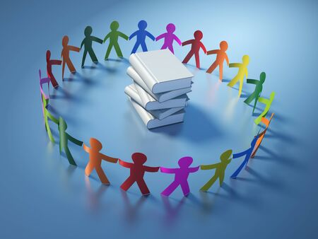 Teamwork Pictogram People with Books - High Quality 3D Rendering