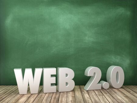 Web 2.0 3D Word on Chalkboard Background - High Quality 3D Rendering