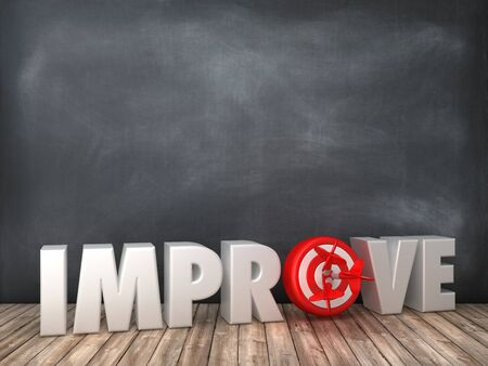 IMPROVE 3D Word with Target on Chalkboard Background - High Quality 3D Rendering