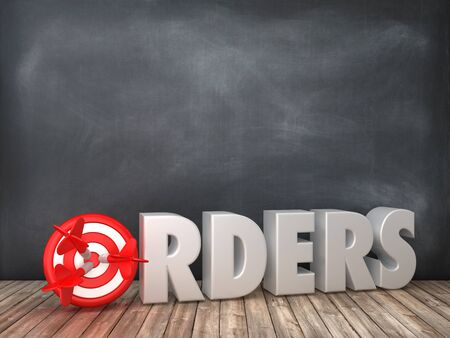 ORDERS 3D Word with Target on Chalkboard Background - High Quality 3D Rendering