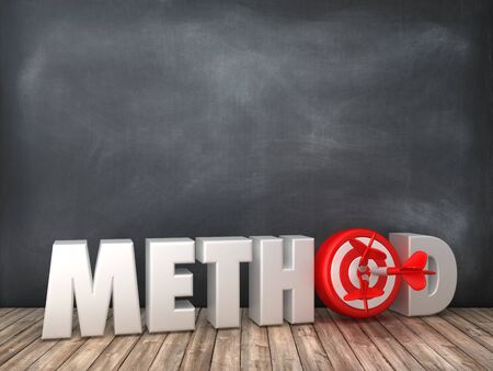 METHOD 3D Word with Target on Chalkboard Background - High Quality 3D Rendering