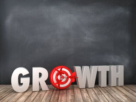 GROWTH 3D Word with Target on Chalkboard Background - High Quality 3D Rendering
