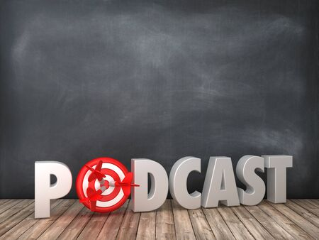 PODCAST 3D Word with Target on Chalkboard Background - High Quality 3D Rendering