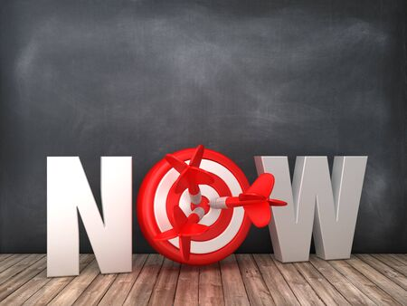 NOW 3D Word with Target on Chalkboard Background - High Quality 3D Rendering