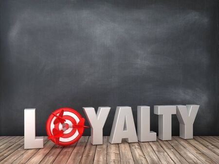 LOYALTY 3D Word with Target on Chalkboard Background - High Quality 3D Rendering Stok Fotoğraf