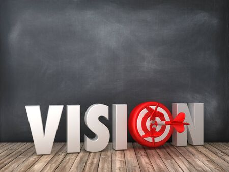 VISION 3D Word with Target on Chalkboard Background - High Quality 3D Rendering