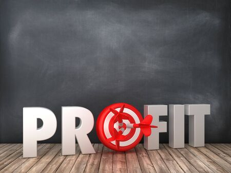 PROFIT 3D Word with Target on Chalkboard Background - High Quality 3D Rendering Stok Fotoğraf