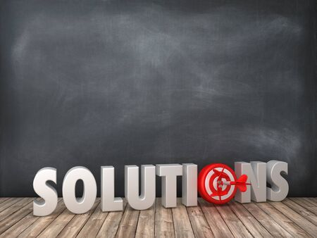 SOLUTIONS 3D Word with Target on Chalkboard Background - High Quality 3D Rendering
