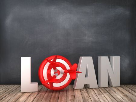 LOAN 3D Word with Target on Chalkboard Background - High Quality 3D Rendering