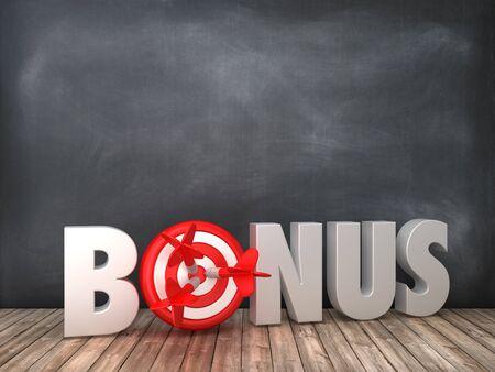 BONUS 3D Word with Target on Chalkboard Background - High Quality 3D Rendering Stok Fotoğraf