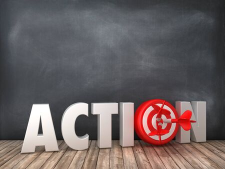 ACTION 3D Word with Target on Chalkboard Background - High Quality 3D Rendering
