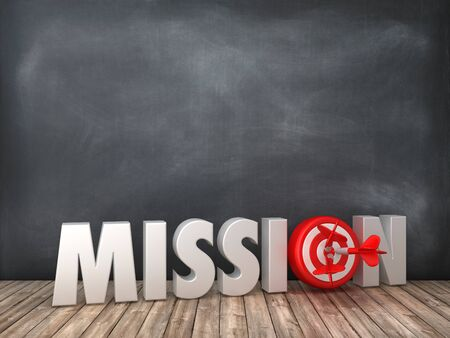 MISSION 3D Word with Target on Chalkboard Background - High Quality 3D Rendering Stok Fotoğraf