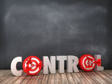 Control 3D Word with Target on Chalkboard Background - High Quality 3D Rendering