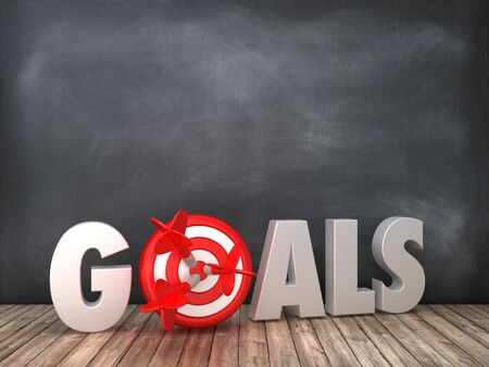 GOALS 3D Word with Target on Chalkboard Background - High Quality 3D Rendering