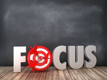 FOCUS 3D Word with Target on Chalkboard Background - High Quality 3D Rendering