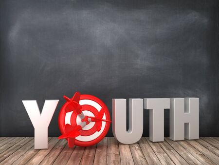 YOUTH 3D Word with Target on Chalkboard Background - High Quality 3D Rendering Фото со стока