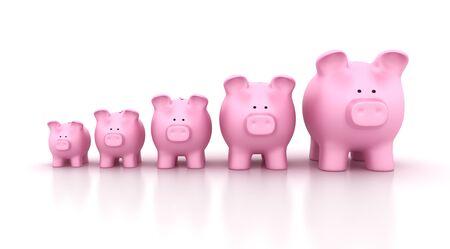 Piggy Bank Chart - High Quality 3D Rendering Stok Fotoğraf