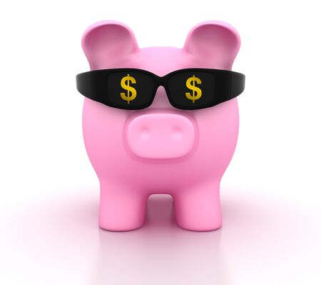 Piggy Bank with Glasses and Dollar Sign - High Quality 3D Rendering Stok Fotoğraf