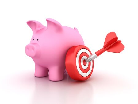 Piggy Bank with Target and Dart - High Quality 3D Rendering