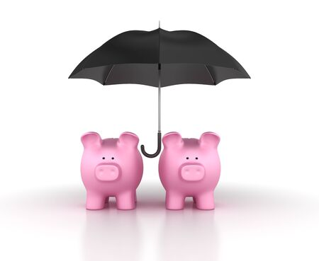 Piggy Bank with Umbrella - High Quality 3D Rendering