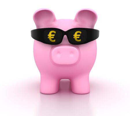 Piggy Bank with Glasses and Euro Symbol - High Quality 3D Rendering