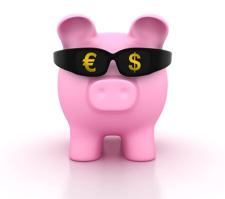 Piggy Bank with Glasses and Dollar Euro Symbols - High Quality 3D Rendering