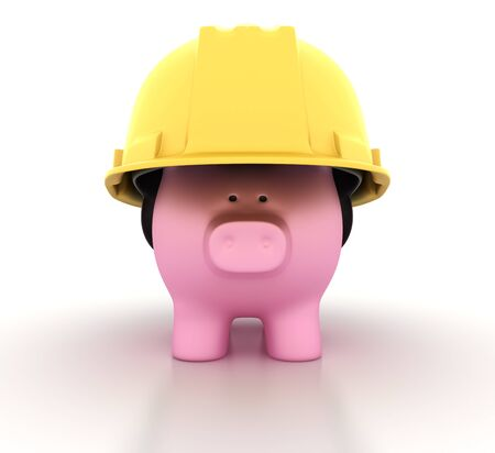 Piggy Bank with Construction Helmet - High Quality 3D Rendering Stok Fotoğraf