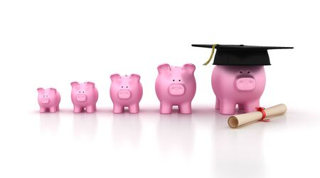 Piggy Bank Chart with Mortarboard - High Quality 3D Rendering