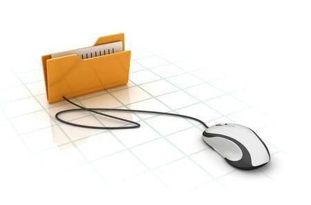Computerordner mit Computermaus - Hochwertiges 3D-Rendering