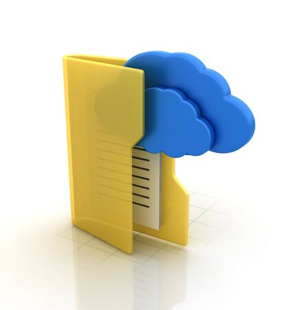 Computer Folder with Cloud Computing - High Quality 3D Rendering