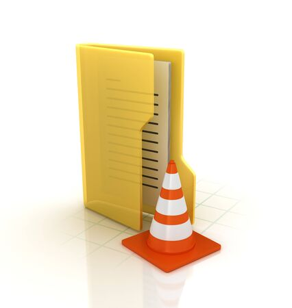Computer Folder with Traffic Cone - High Quality 3D Rendering Stok Fotoğraf