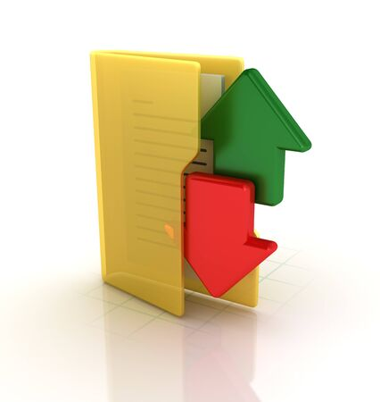 Computer Folders with Arrows - High Quality 3D Rendering Banque d'images