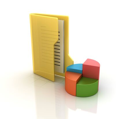 Computer Folder with Pie Chart - High Quality 3D Rendering