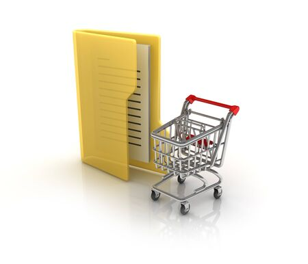 Computer Folder with Shopping Cart - High Quality 3D Rendering