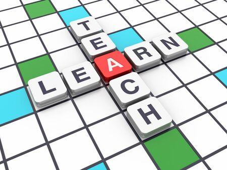 Crossword Series: LEARN TEACH - High Quality 3D Rendering