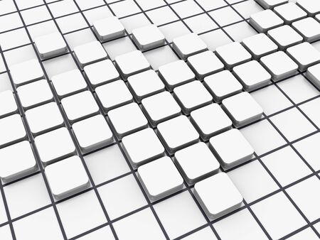 White Blocks Pattern - High Quality 3D Rendering Banque d'images