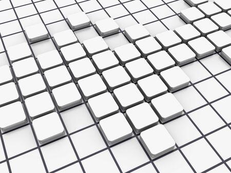 White Blocks Pattern - High Quality 3D Rendering Stok Fotoğraf