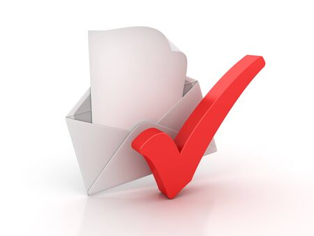 3D Envelope with Check Mark - High Quality 3D Rendering