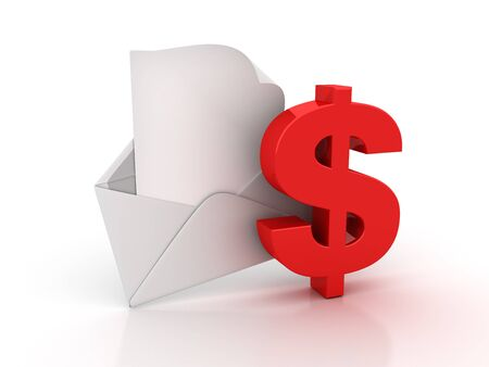 3D Envelope with Dollar Sign - High Quality 3D Rendering