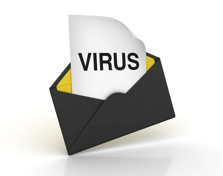 3D Envelope with VIRUS Word - High Quality 3D Rendering