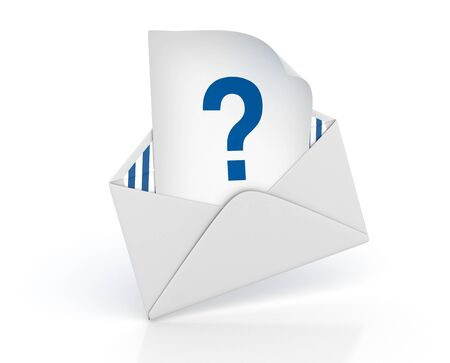 3D Envelope with Question Mark - High Quality 3D Rendering Фото со стока