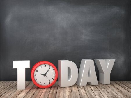 TODAY 3D Word with Clock on Chalkboard Background - High Quality 3D Rendering