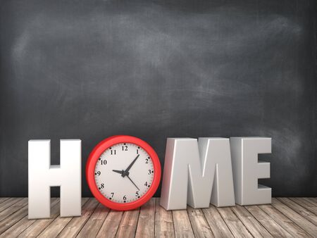 HOME 3D Word with Clock on Chalkboard Background - High Quality 3D Rendering Stock Photo