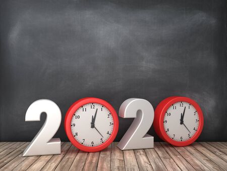 2020 3D Word with Clock on Chalkboard Background - High Quality 3D Rendering Stock Photo
